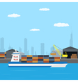 farry boat loading vector image