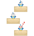 Cute Blue Birds on Wooden Sign Set 3 vector image vector image