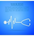 Stethoscope with a heart beat flat icon on blue vector image