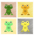 assembly flat shading style icons cute frog vector image