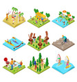 isometric outdoor activity kayaking volleyball vector image
