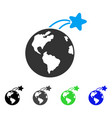 rising satellite on earth flat icon vector image