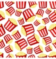 Takeaway buckets of popcorn seamless pattern vector image