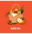 Basket Full of Fresh Fruit vector image
