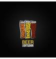 beer glass label design background vector image