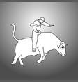 businessman bull rider doodle vector image