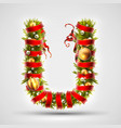 christmas font letter u of christmas tree vector image