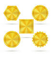 empty golden metal badges vector image