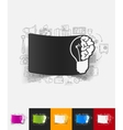idea paper sticker with hand drawn elements vector image