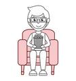 man in cinema 3d chair vector image