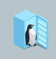 penguin from fridge isometric vector image