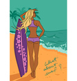 Young beautiful girl with surfboard on the beach vector image