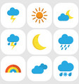 climate flat icons set collection of sun bow vector image