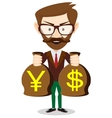 Businessman with a bag full of money vector image