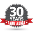 Celebrating 30 years anniversary retro label with vector image