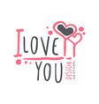 i love you logo template original design colorful vector image
