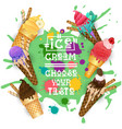 ice cream cones set colorful desserts collection vector image