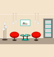 Living room interior with breakfast coffe and vector image