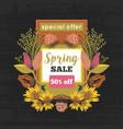 spring sale special offer floral decoration vector image