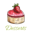 Color sketched cake with strawberry for patisserie vector image