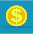 big dollar symbol on gold coin icon cartoon style vector image