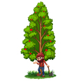 A woodman under the tree with an axe vector image