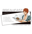 The waitress delivers breakfast Template adv vector image