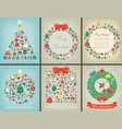 christmas greeting card set with merry christmas vector image
