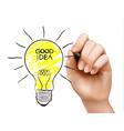 Hand draws a light bulb Concept of the idea vector image