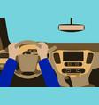 Human hands driving a car vector image
