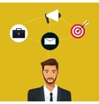 man bearded suit work team icons vector image