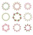 Set rose floral ornate round frames vector image