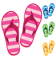 Slippers Colorful slippers isolated on white vector image