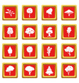 trees icons set red vector image