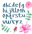 Watercolor alphabet with flowers vector image