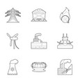 world resource icons set outline style vector image