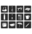 Black Picnic and holiday icons vector image