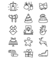 thin simply Christmas icons set vector image vector image