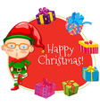 Christmas theme with elf and many presents vector image