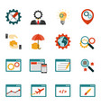 internet marketing flat icons set vector image