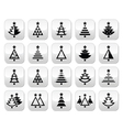 Christmas tree - various types buttons set vector image