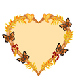 Frame in the shape of a heart with butterflies vector image