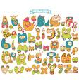 Funny doodle cartoon alphabet vector image