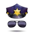 Cartoon police cap and cops sunglasses vector image