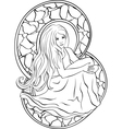 Beautiful sitting girl stained glass vector image vector image