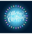 Christma light garlands like frame on a blue vector image