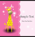 Cute giraffe greeting card vector image