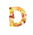 delicious letter made from different nuts d vector image