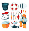 different equipment for fishing fisherman with vector image