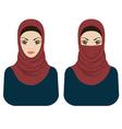 Muslim women in hijab and paranja vector image